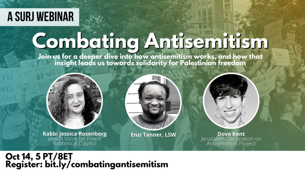 """image shows text of the webinar description that reads """"Combating antisemitism: join us for a deeper dive into how antisemitism works, and how that insight leads us towards solidarity for Palestinian freedom."""" Below the text is three black and white photos of the panelists: Rabbi Jessica Rosenberg, Enzi Tanner, LSW, and Dove Kent"""