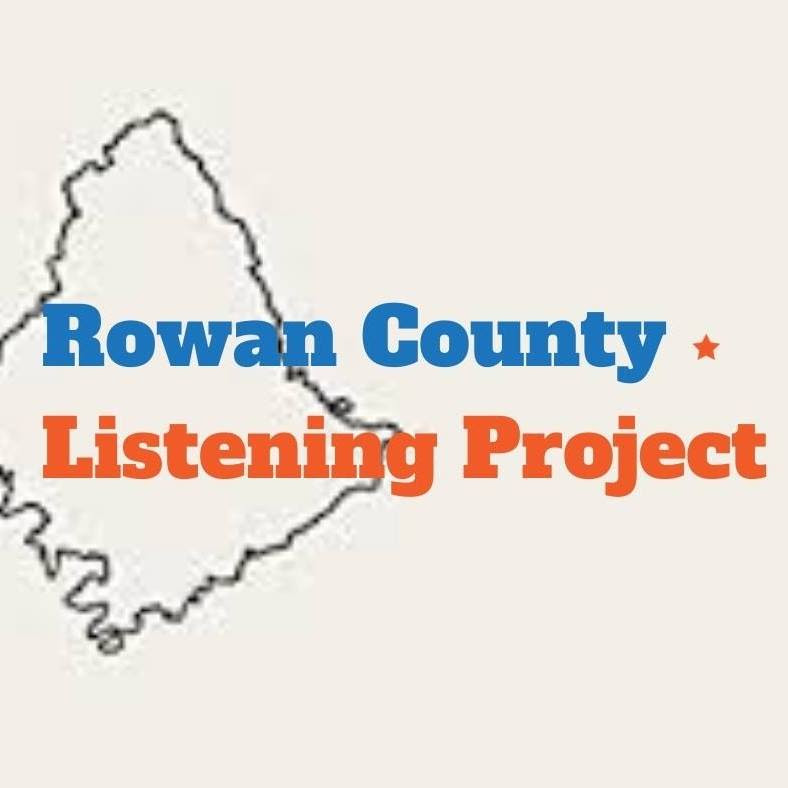 """Image is the logo for the Rowan County Listening Project: the words """"Rowan County"""" are written in blue while the words """"Listening Project"""" are in Orange, over an outline of Rowan County."""